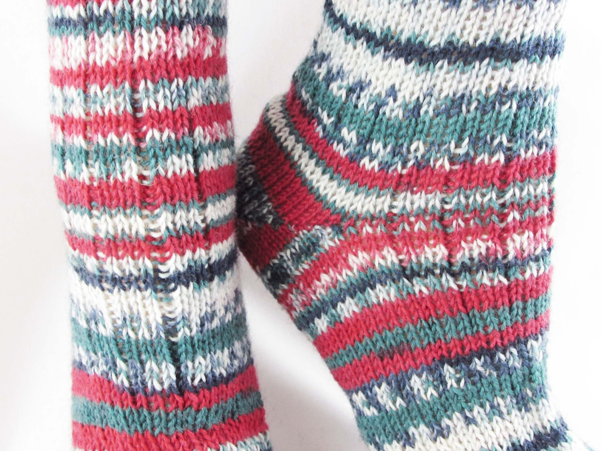 Christmas Colored Sock Yarn With Knit Wool Socks Striped Warm Winter
