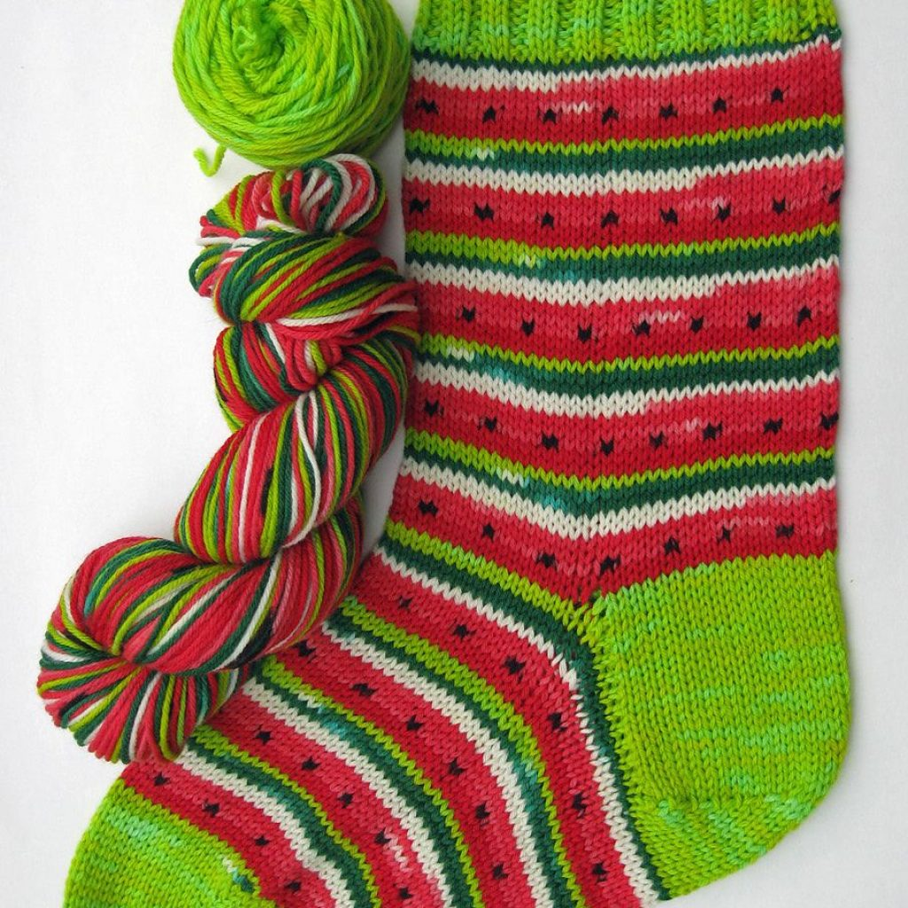 Christmas Colored Sock Yarn With Ravelry Watermelon Stocking Pattern By Abigail Grasso