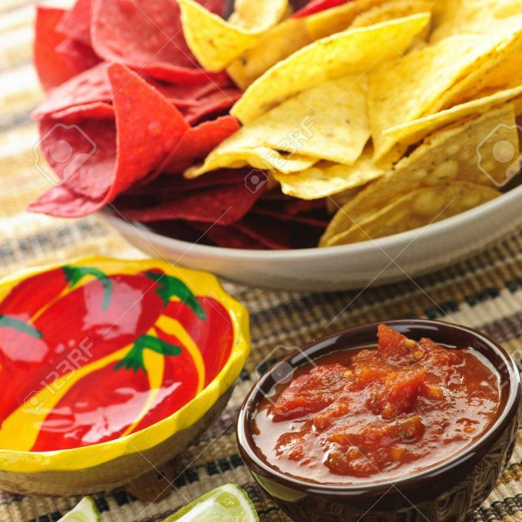 Christmas Colored Tortilla Chips With Bowl Of Salsa Colorful And Lime Zdj Cia Royalty