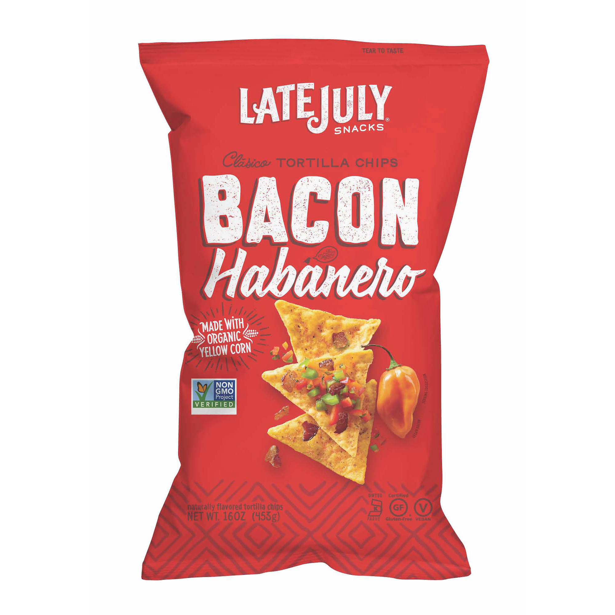 Christmas Colored Tortilla Chips With Late July Snacks Bacon Habanero 16 Oz BJs