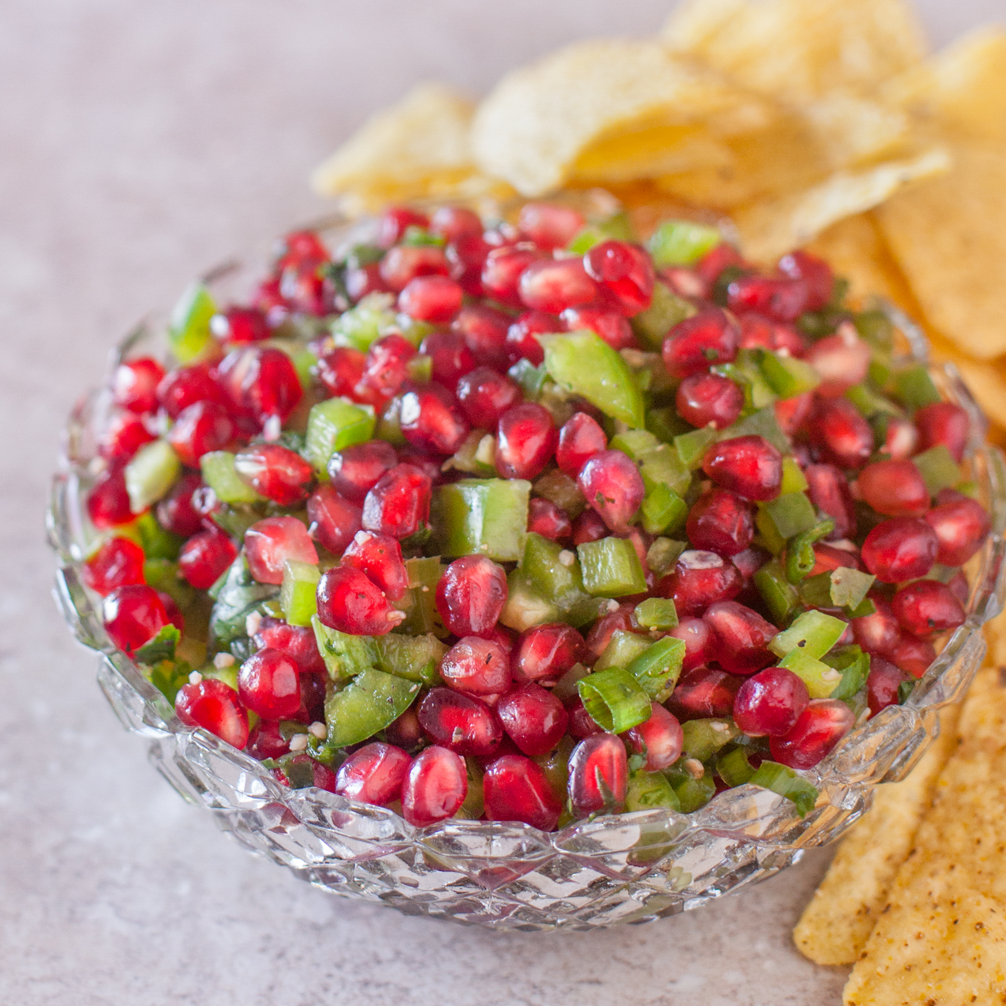 Christmas Colored Tortilla Chips With Pomegranate Salsa Recipe