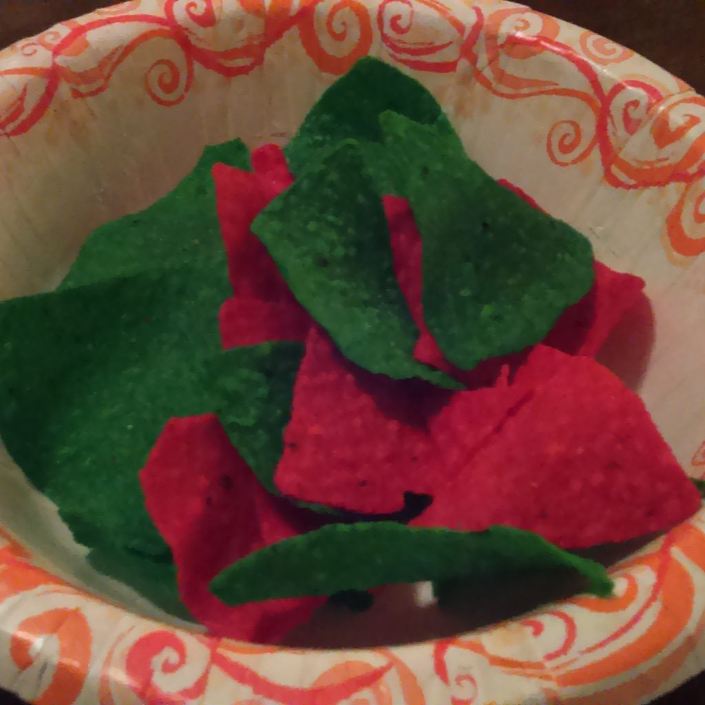 Christmas Colored Tortilla Chips With These Are