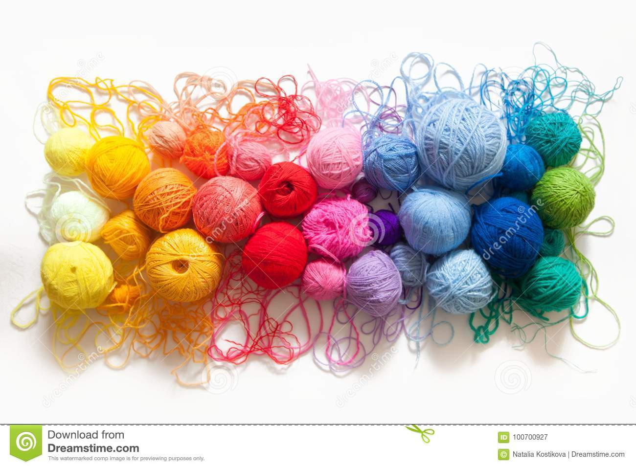 Christmas Colored Yarn With Balls Of View From Above Rainbow Colors All Colo