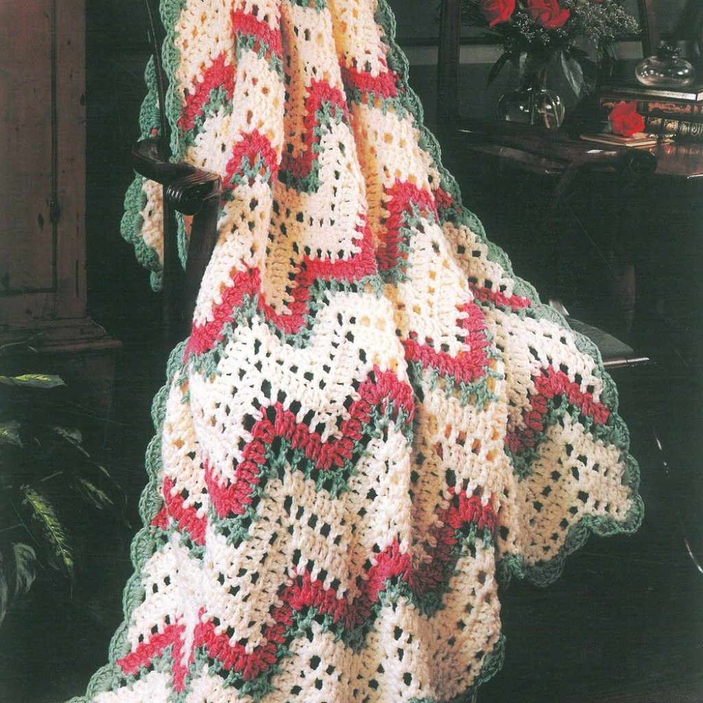 Christmas Colored Yarn With Filet Ripple Afghan Kit Crochet Pinterest