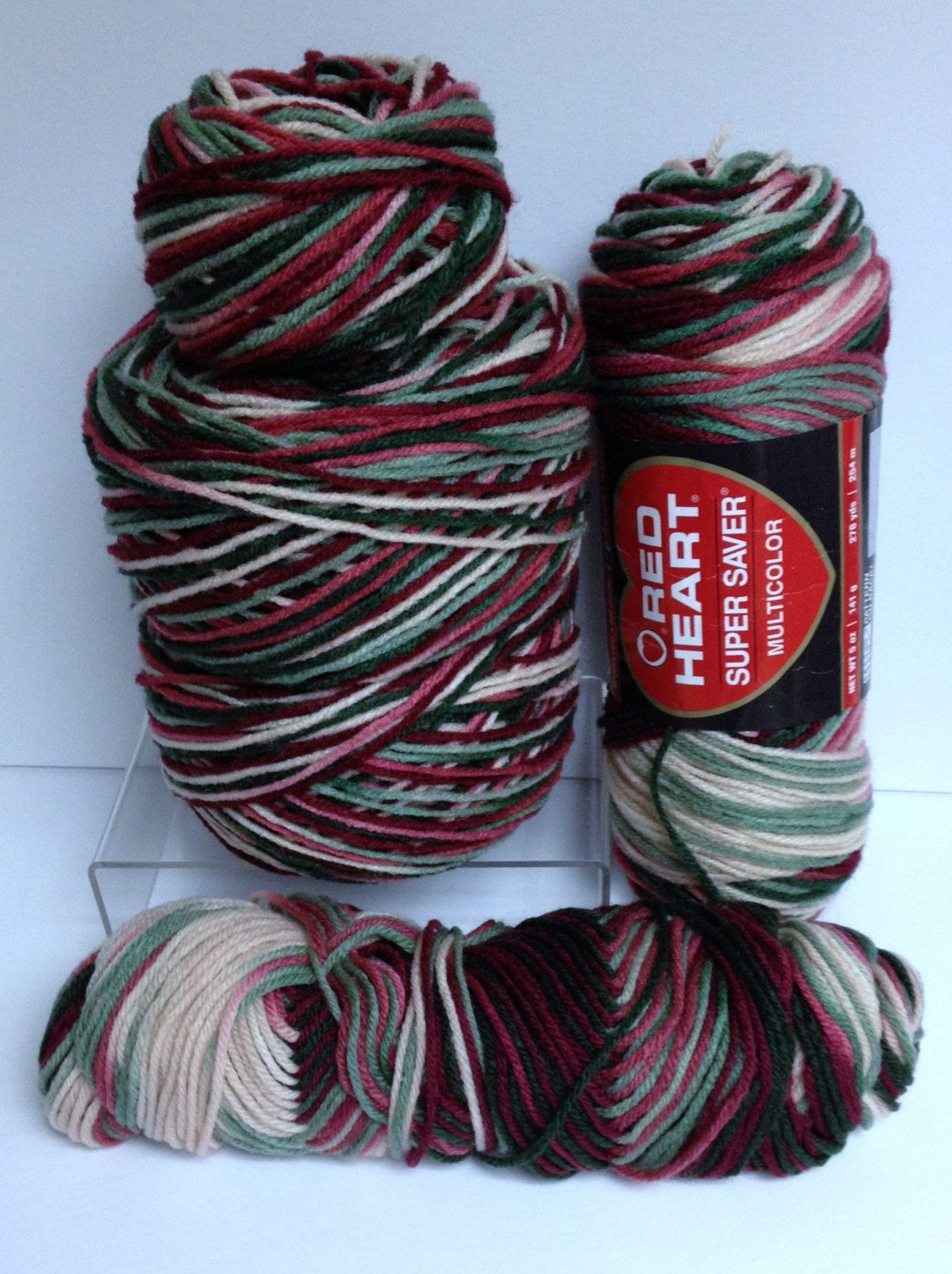 Christmas Colored Yarn With Red Heart Worsted Destash Multicolor Variegated Skeins