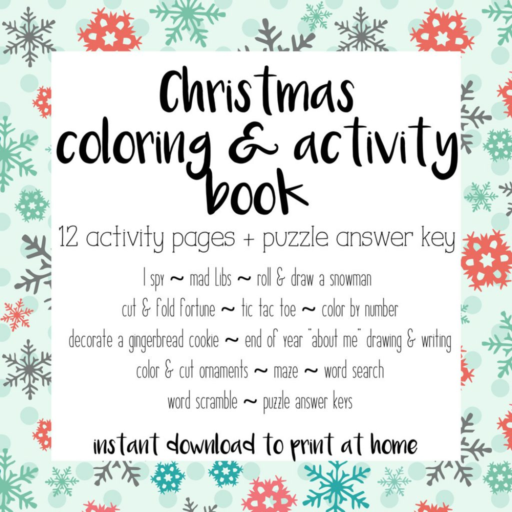 Christmas Coloring And Activity Books With Printable Book