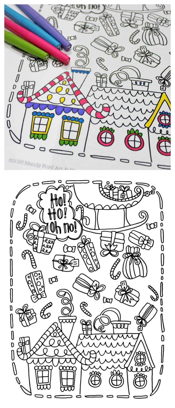 Christmas Coloring And Cutting Activities With Printable Page Fun Ideas For Kids Pinterest