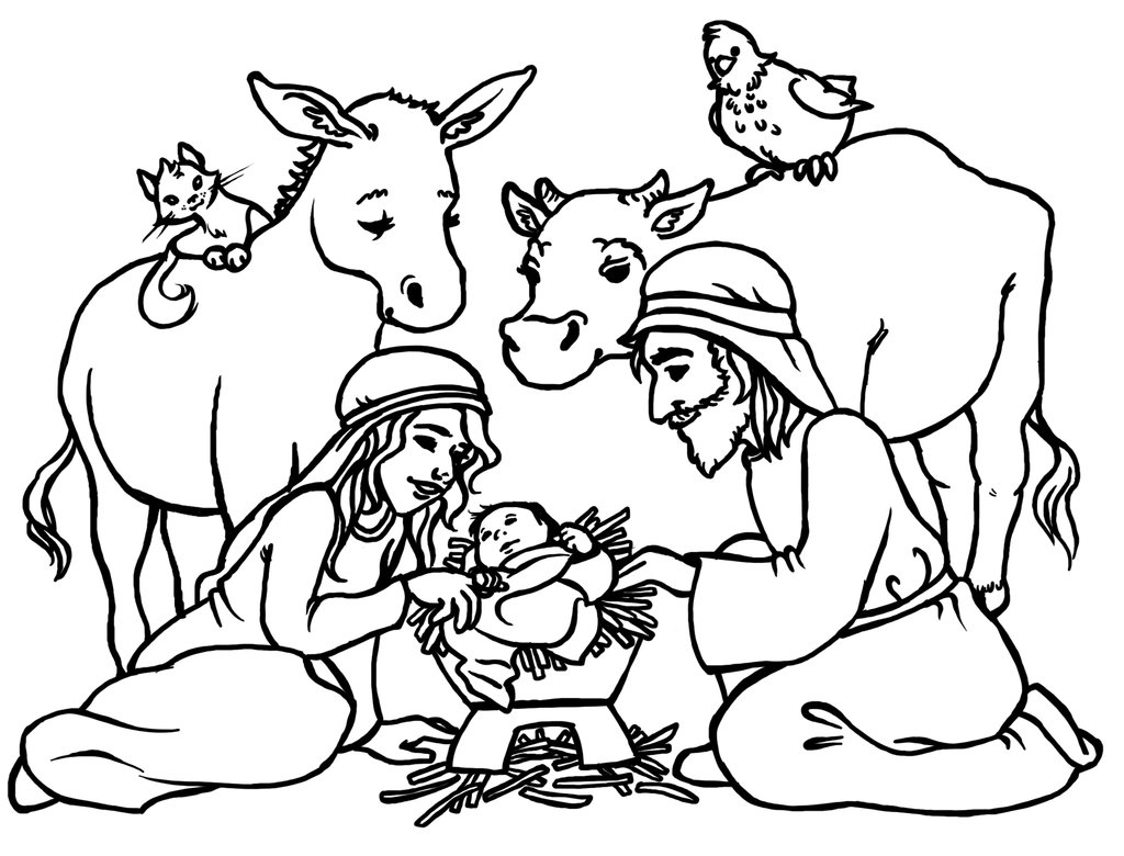 Christmas Coloring Baby Jesus With Free Black Pictures Download Clip Art