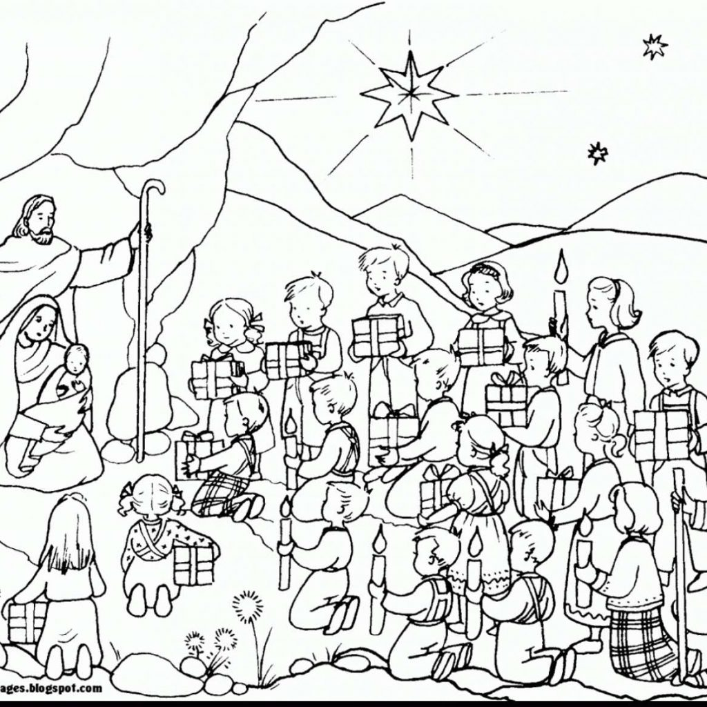Christmas Coloring Baby Jesus With In A Manger Pages Collection Play Learn