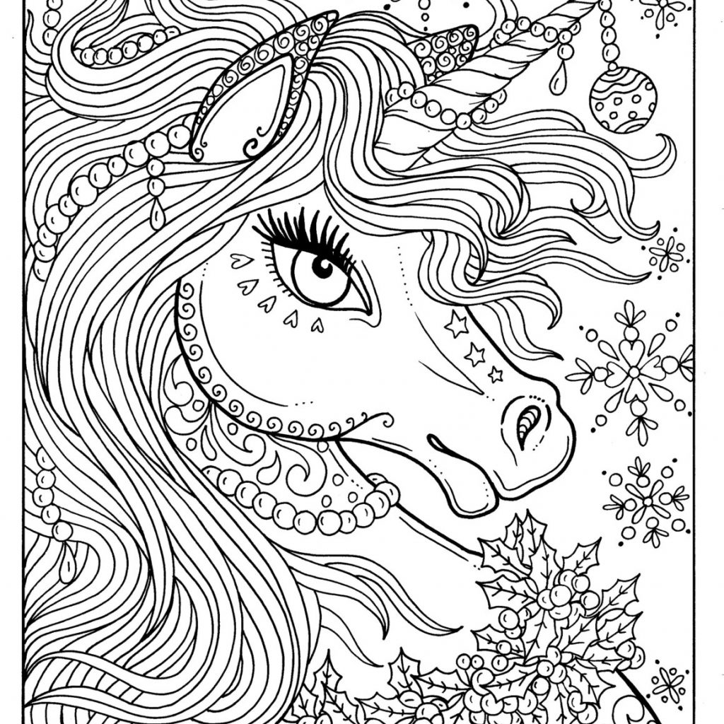 Christmas Coloring Book For Adults With Unicorn Page Adult Color Art Fantasy Etsy