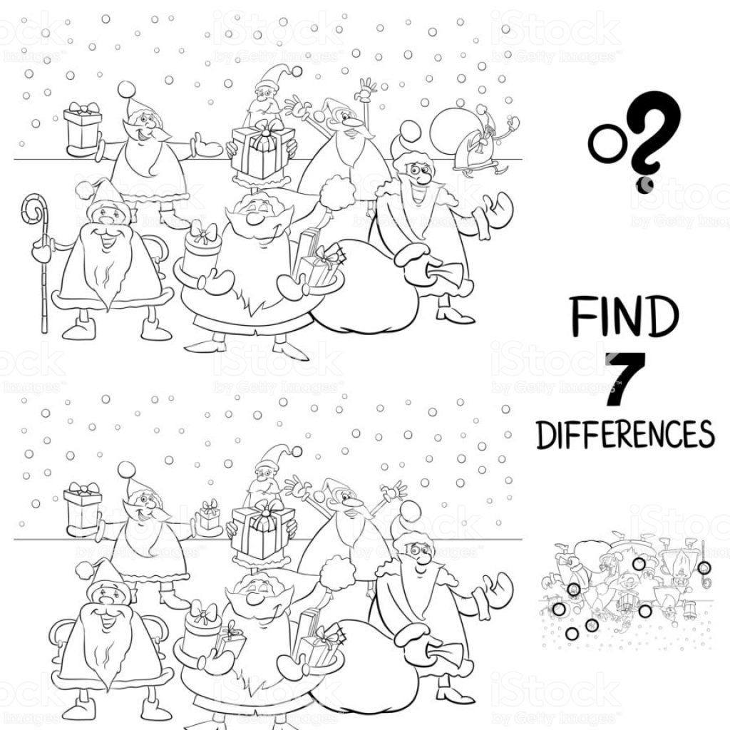 Christmas Coloring Book Games With Differences Game Xmas Santa Claus Color Stock Vector Art