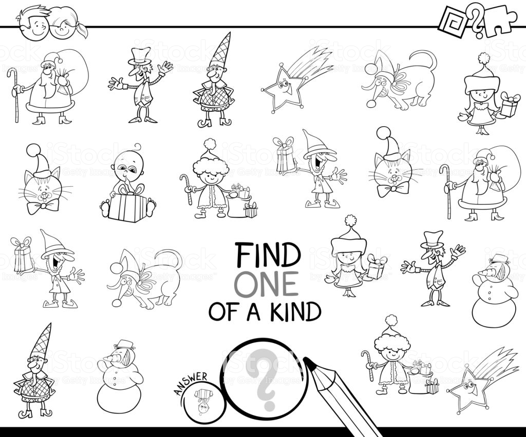 Christmas Coloring Book Games With One Of A Kind Game Stock Vector Art More