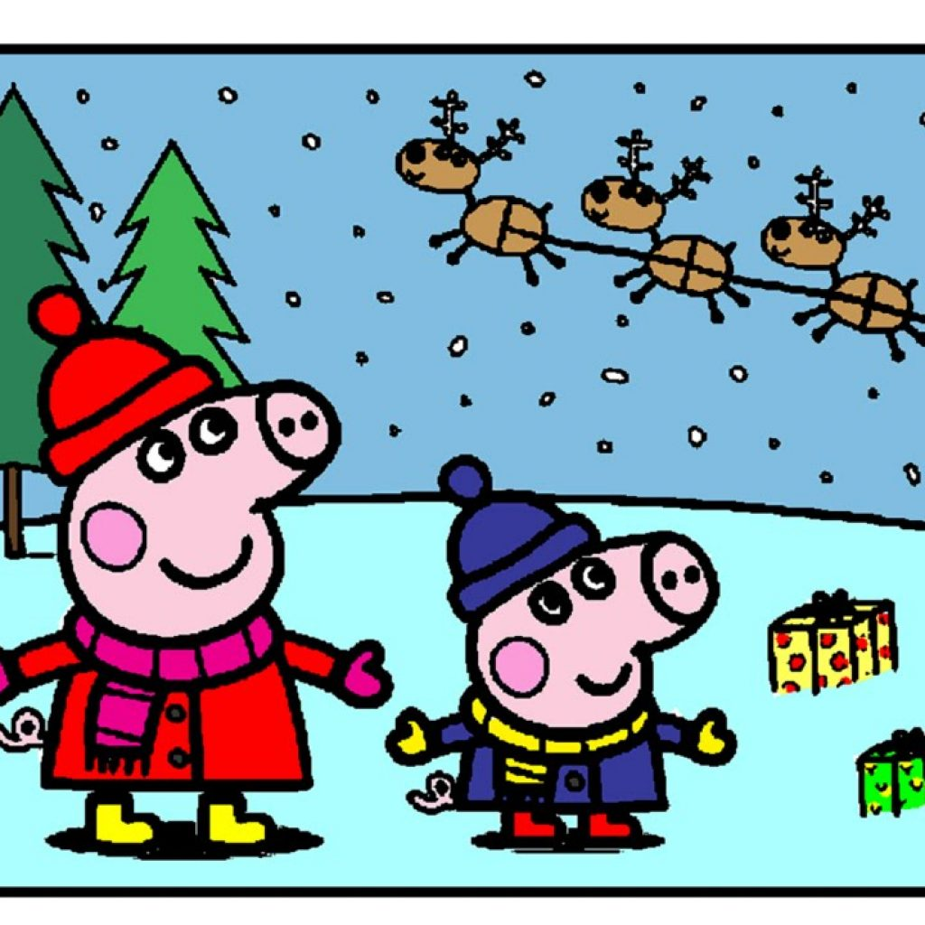 Christmas Coloring Book Games With Peppa Pig Pages For Kids Card