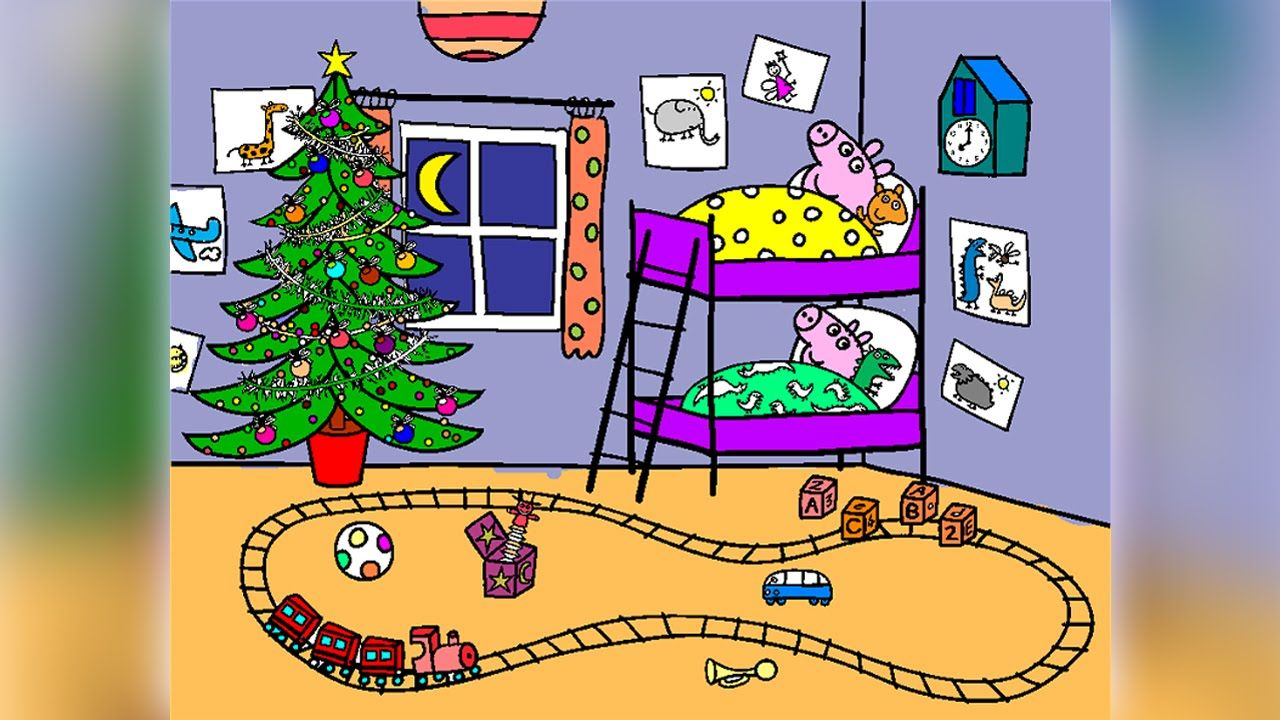 Christmas Coloring Book Games With Peppa Pig Pages For Kids