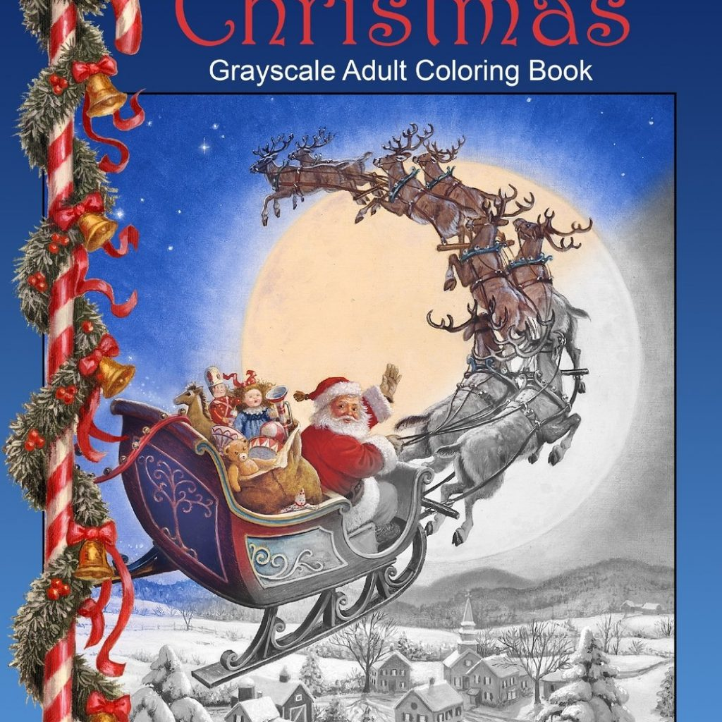 Christmas Coloring Book Jade Summer With Amazon Com Santa S Grayscale Adult