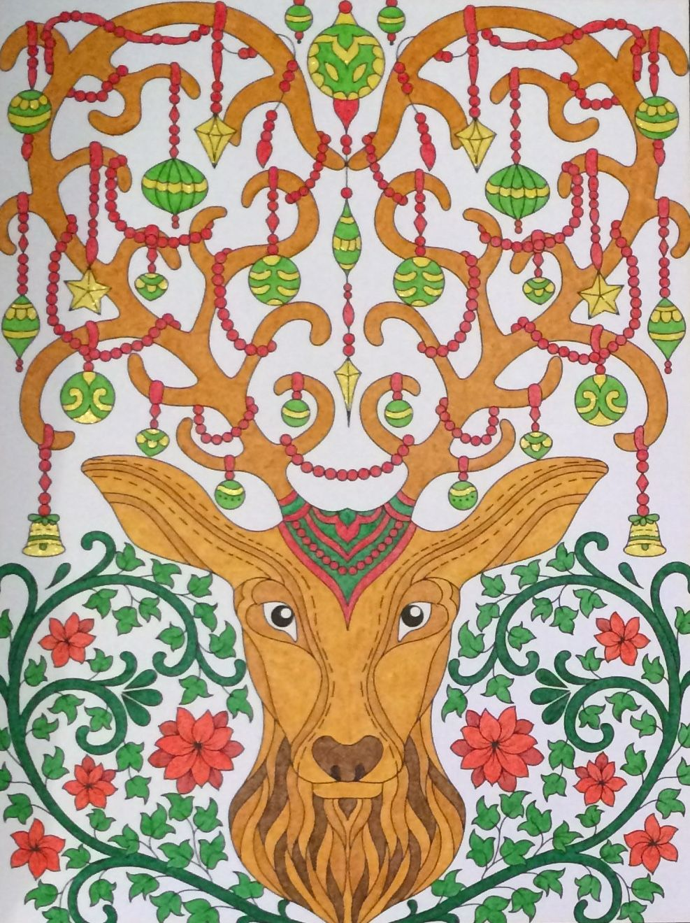 Christmas Coloring Book Jade Summer With Ornamental Stag From Coloured By Laura