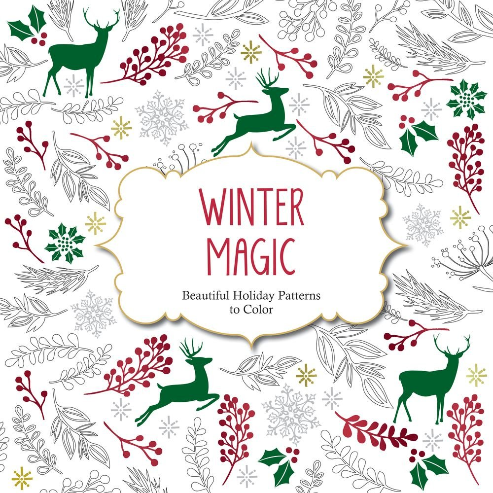 Christmas Coloring Book Pages For Adults With Amazon Com Winter Magic Beautiful Holiday Patterns