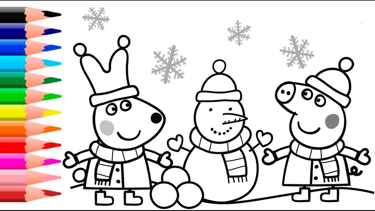 Christmas Coloring Book Pages Printable With Peppa Pig YouTube