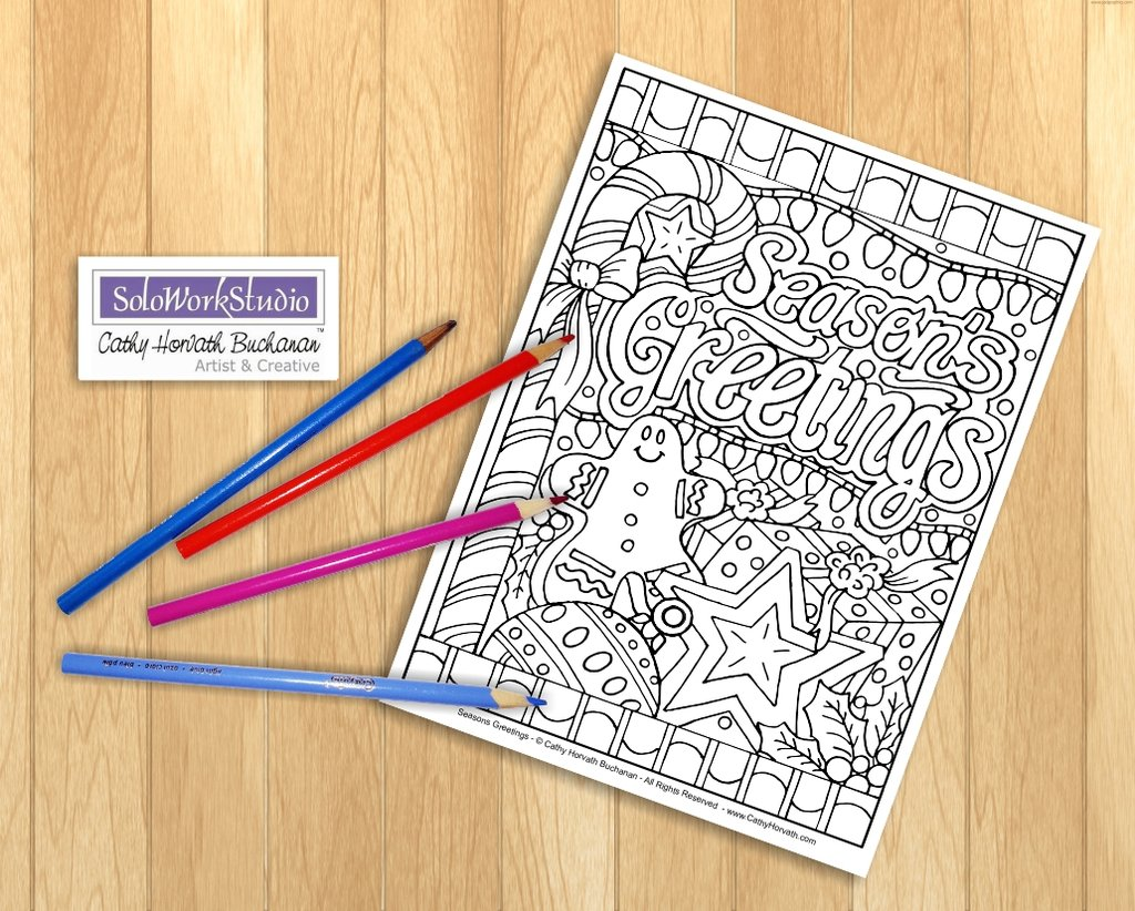 Christmas Coloring Book Pdf With Page Seasons Greetings Design Festive Holiday