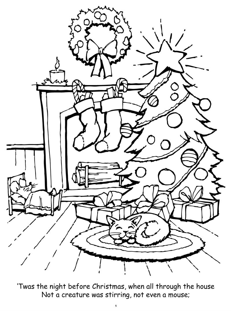 Christmas Coloring Book Pictures With Books Twas Night Before Really Big