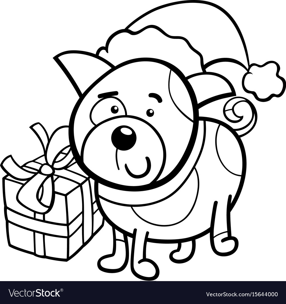Christmas Coloring Book Pictures With Cute Puppy On Royalty Free Vector