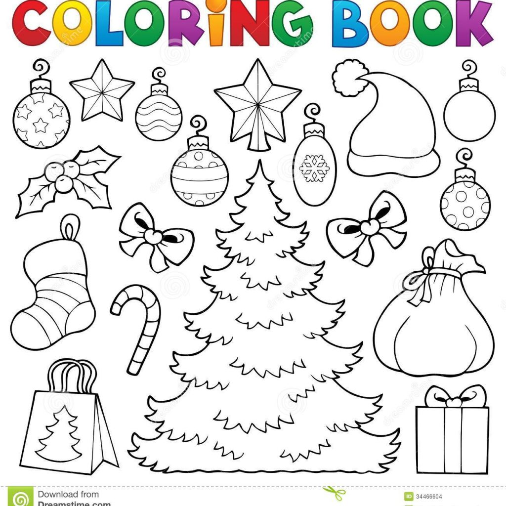Christmas Coloring Book Pictures With Decor 1 Stock Vector Illustration Of
