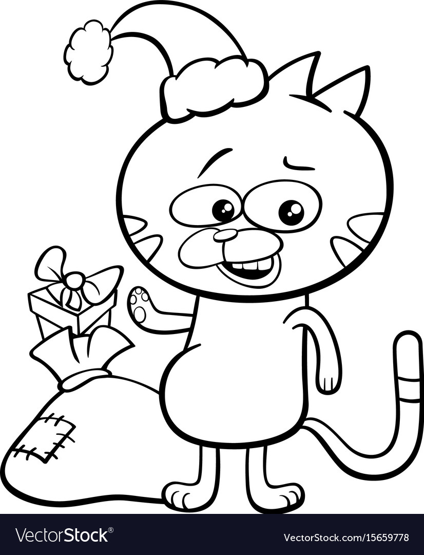 Christmas Coloring Book Vector With Cat On Royalty Free Image
