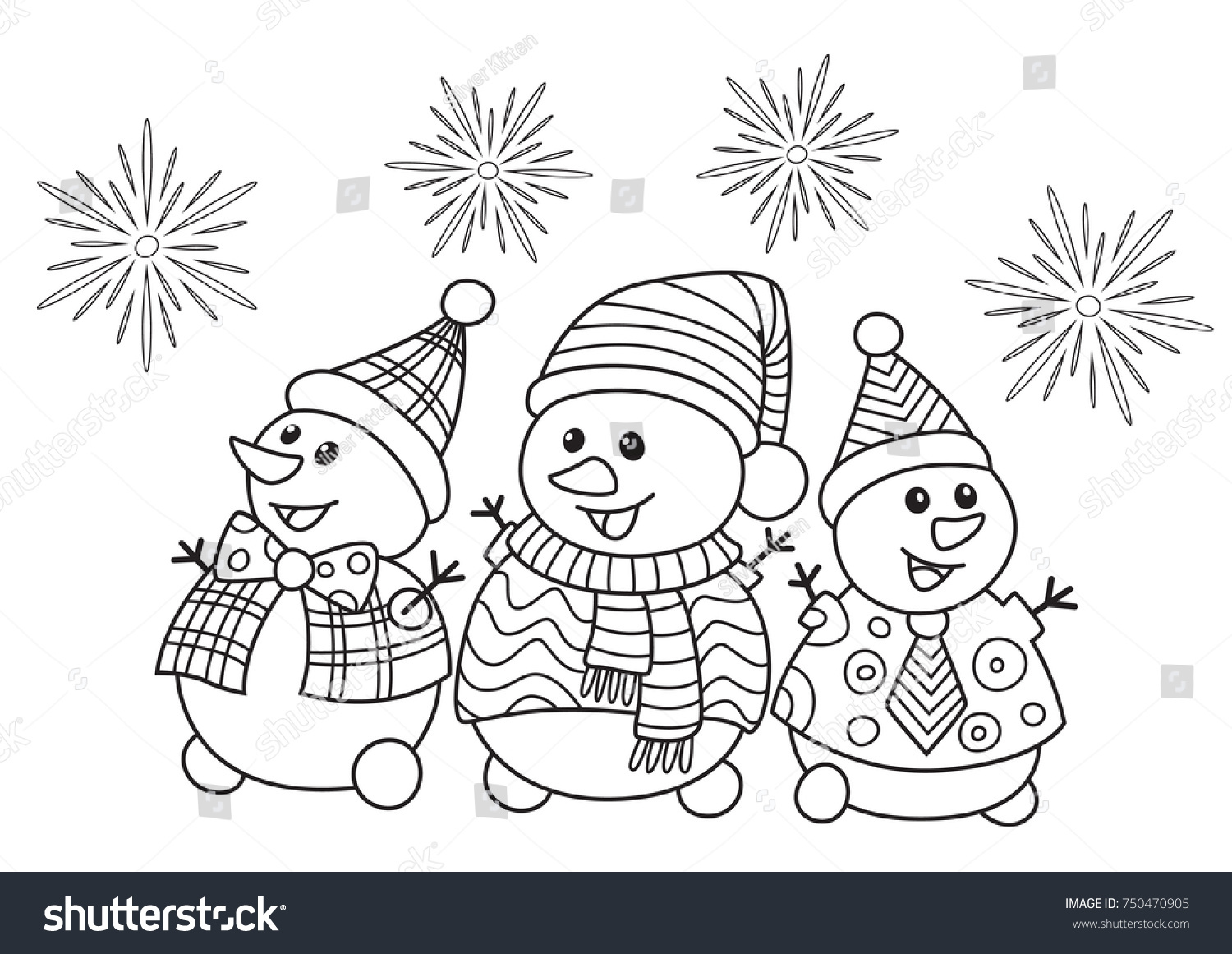 Christmas Coloring Book Vector With Outlined Doodle Antistress Funny Stock