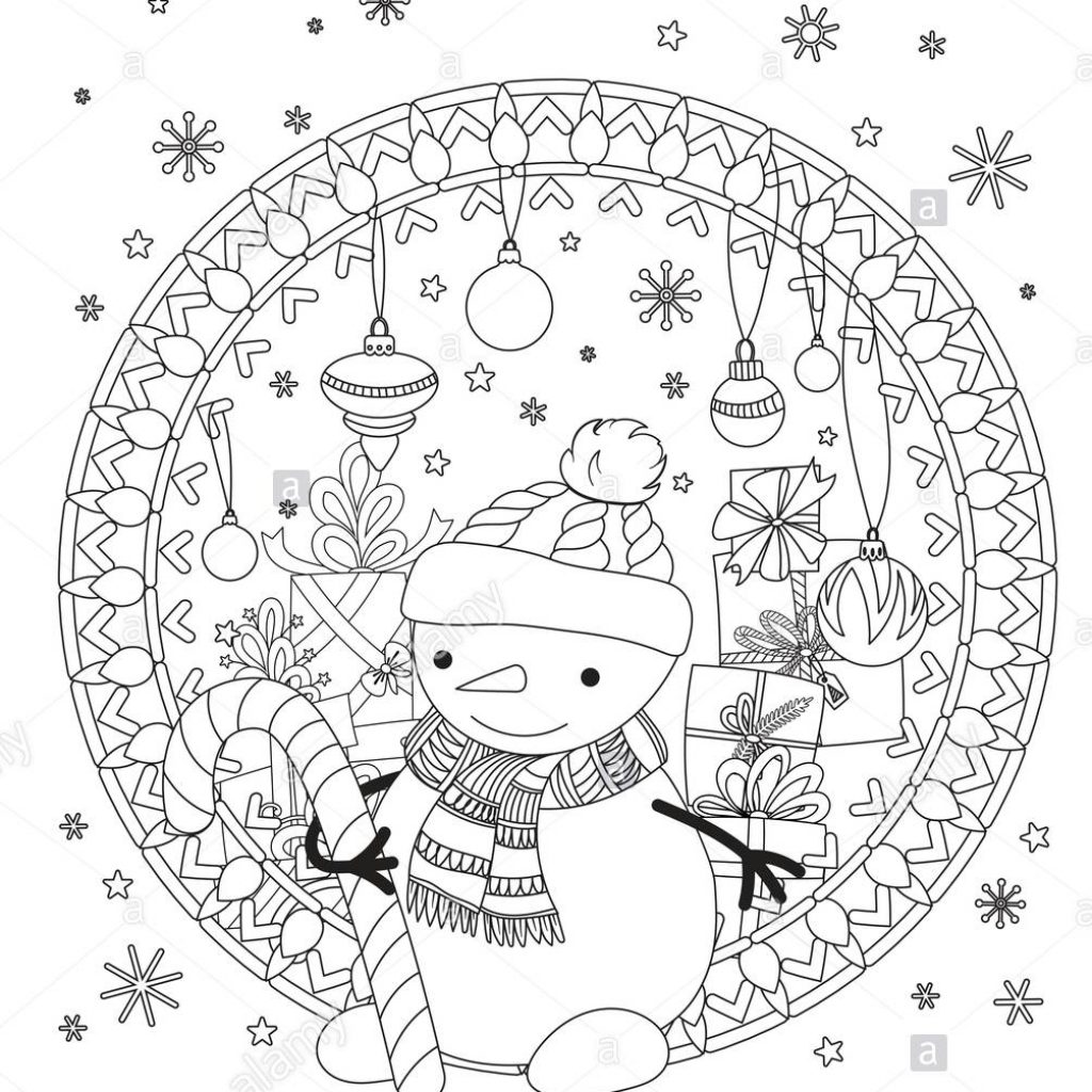 Christmas Coloring Book Vector With Page Adult Cute Snowman