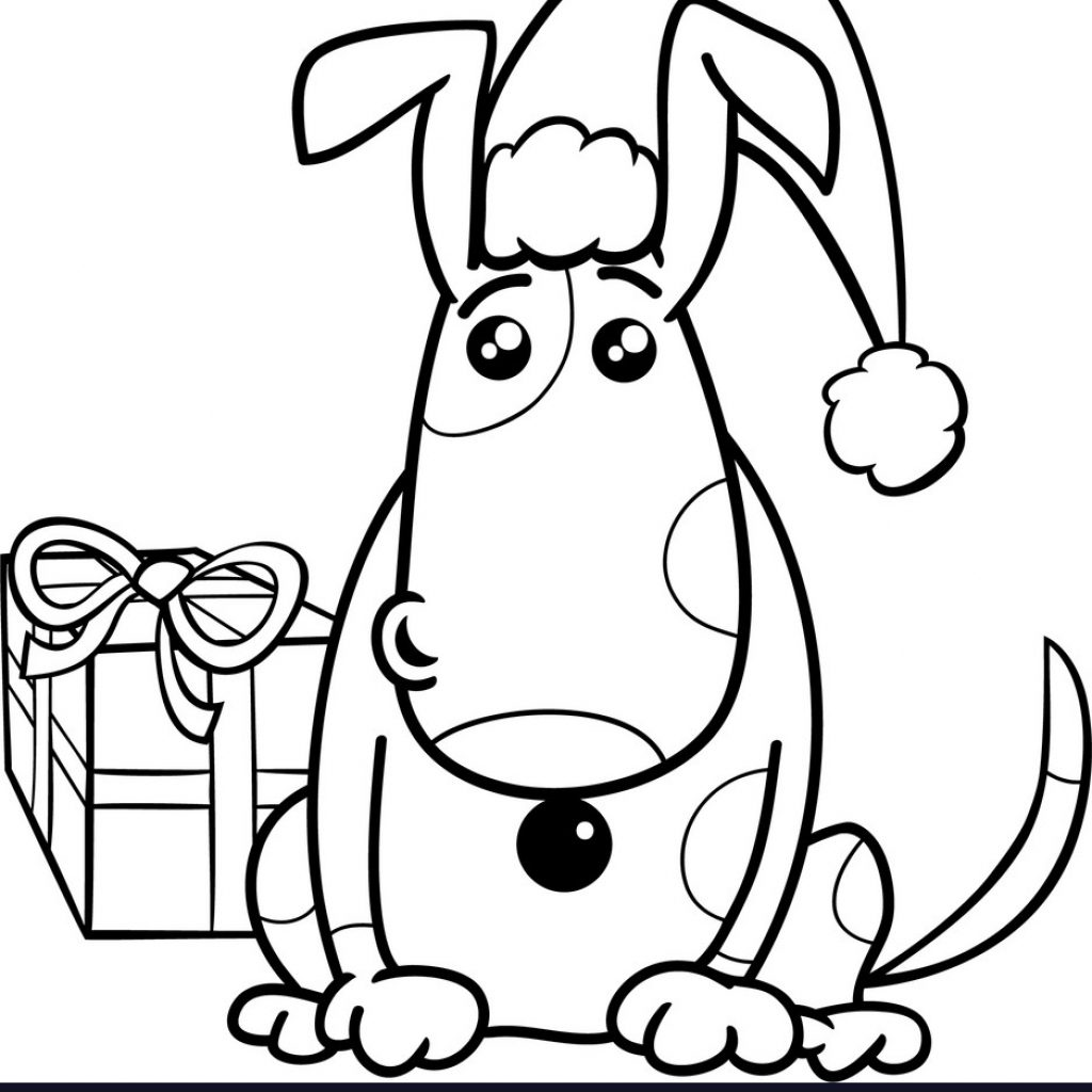 Christmas Coloring Book Vector With Puppy On Royalty Free Image