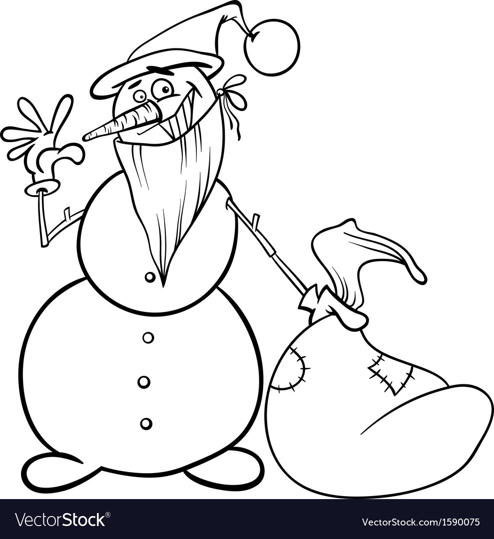 Christmas Coloring Book Vector With Snowman For Royalty Free