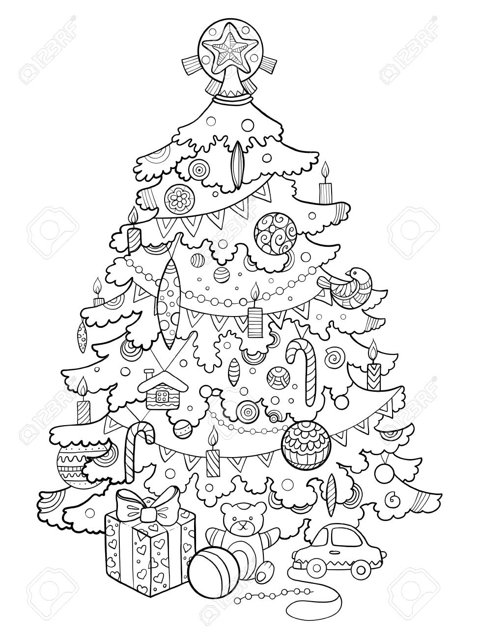 Christmas Coloring Book Vector With Tree Cartoon Illustration Royalty