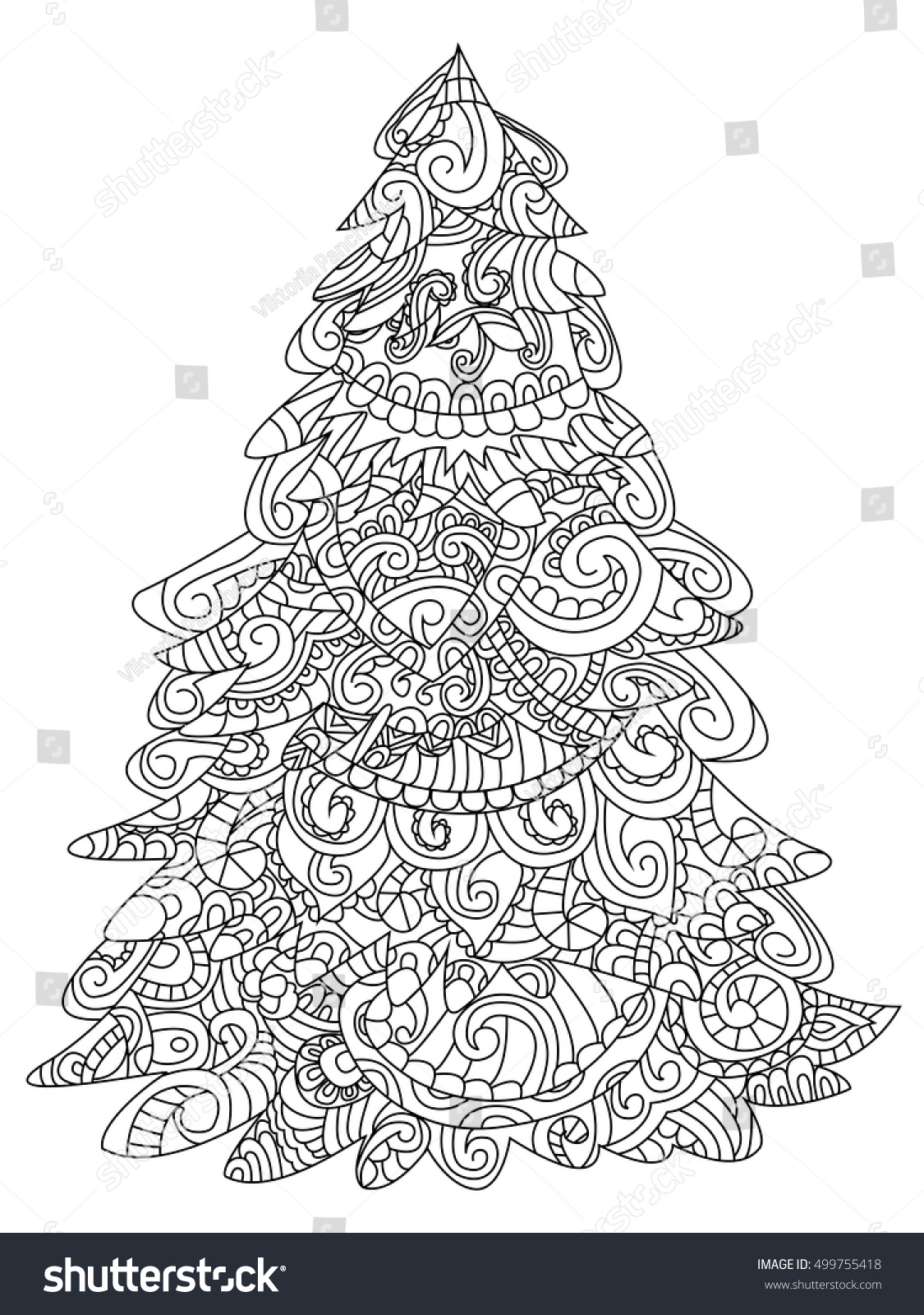 Christmas Coloring Book Vector With Tree Illustration Stock