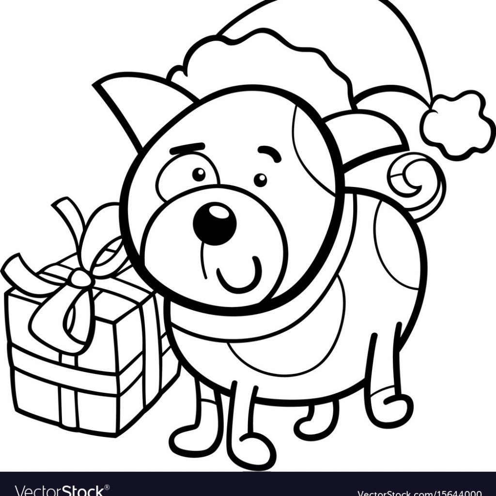 Christmas Coloring Book With Cute Puppy On Vector Image VectorStock