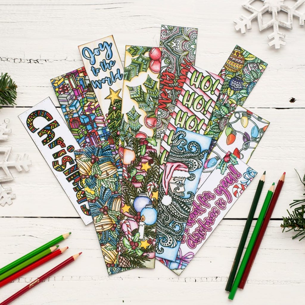 Christmas Coloring Bookmarks With 12 Pack Sarah Renae Clark Book
