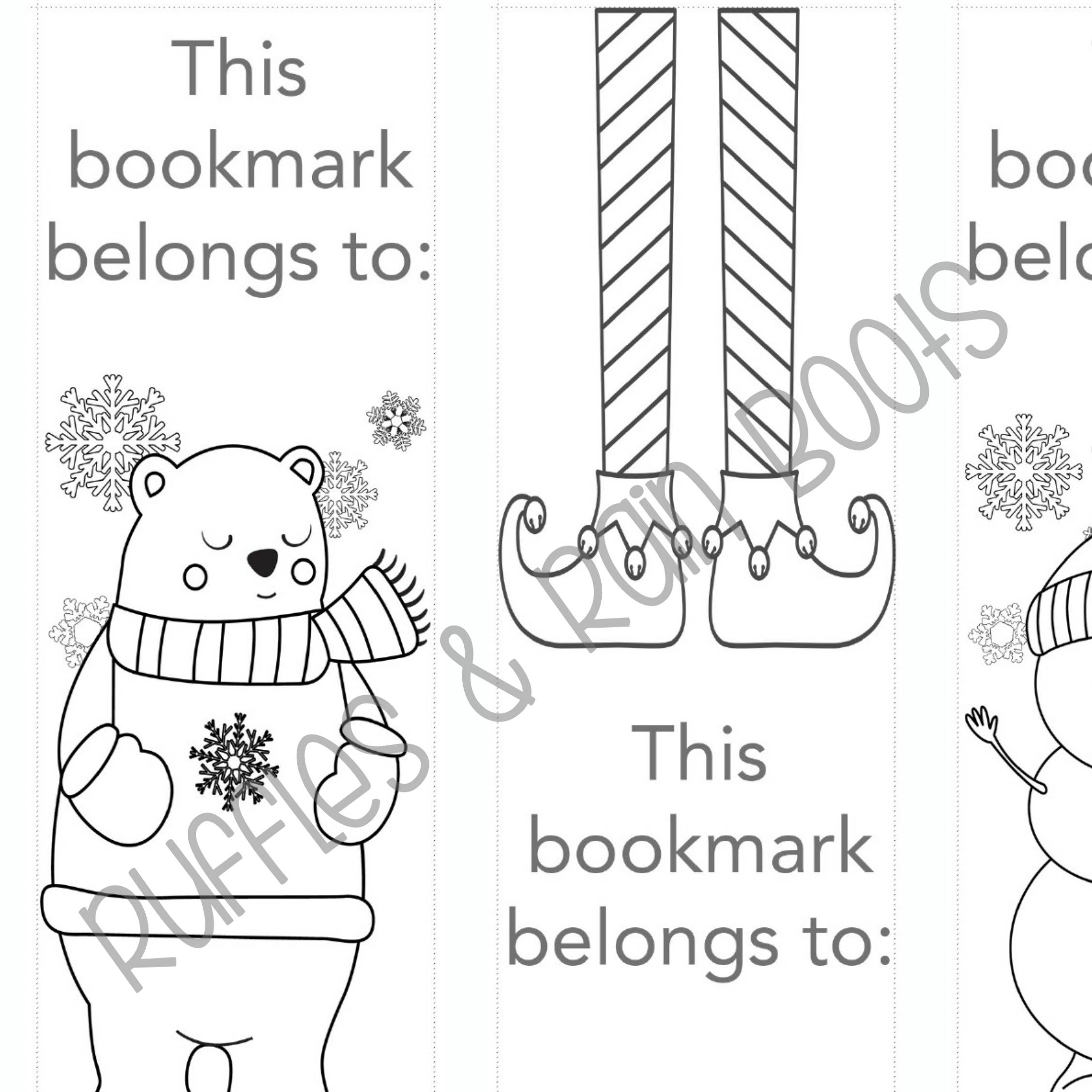 Christmas Coloring Bookmarks With 3 Winter For Kids Holiday Etsy