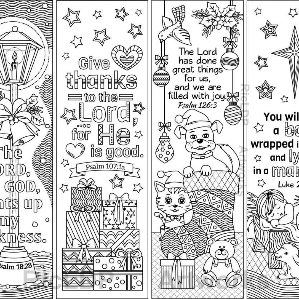 Christmas Coloring Bookmarks With 8 Printable Bible Verses