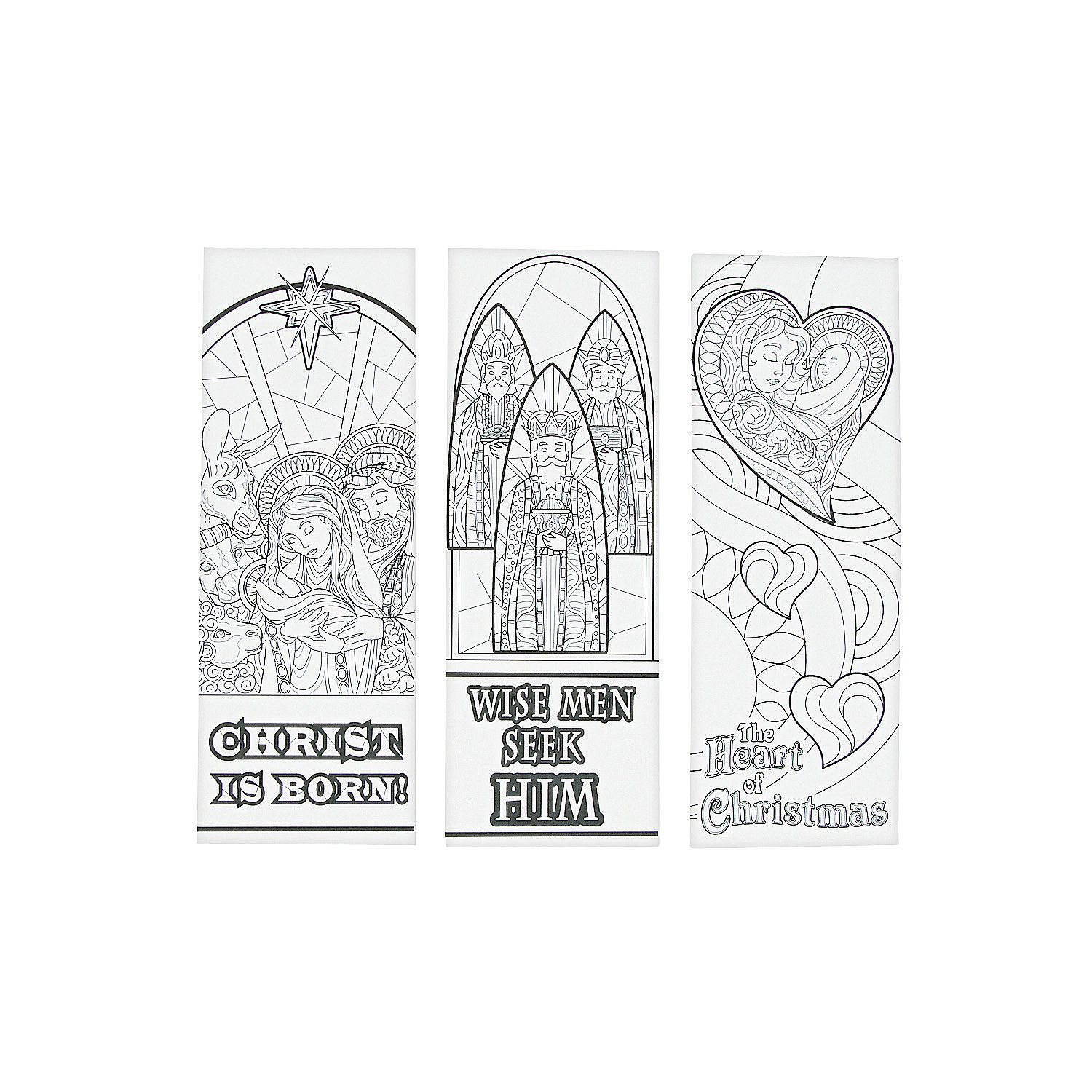 Christmas Coloring Bookmarks With Adult Color Your Own Nativity And