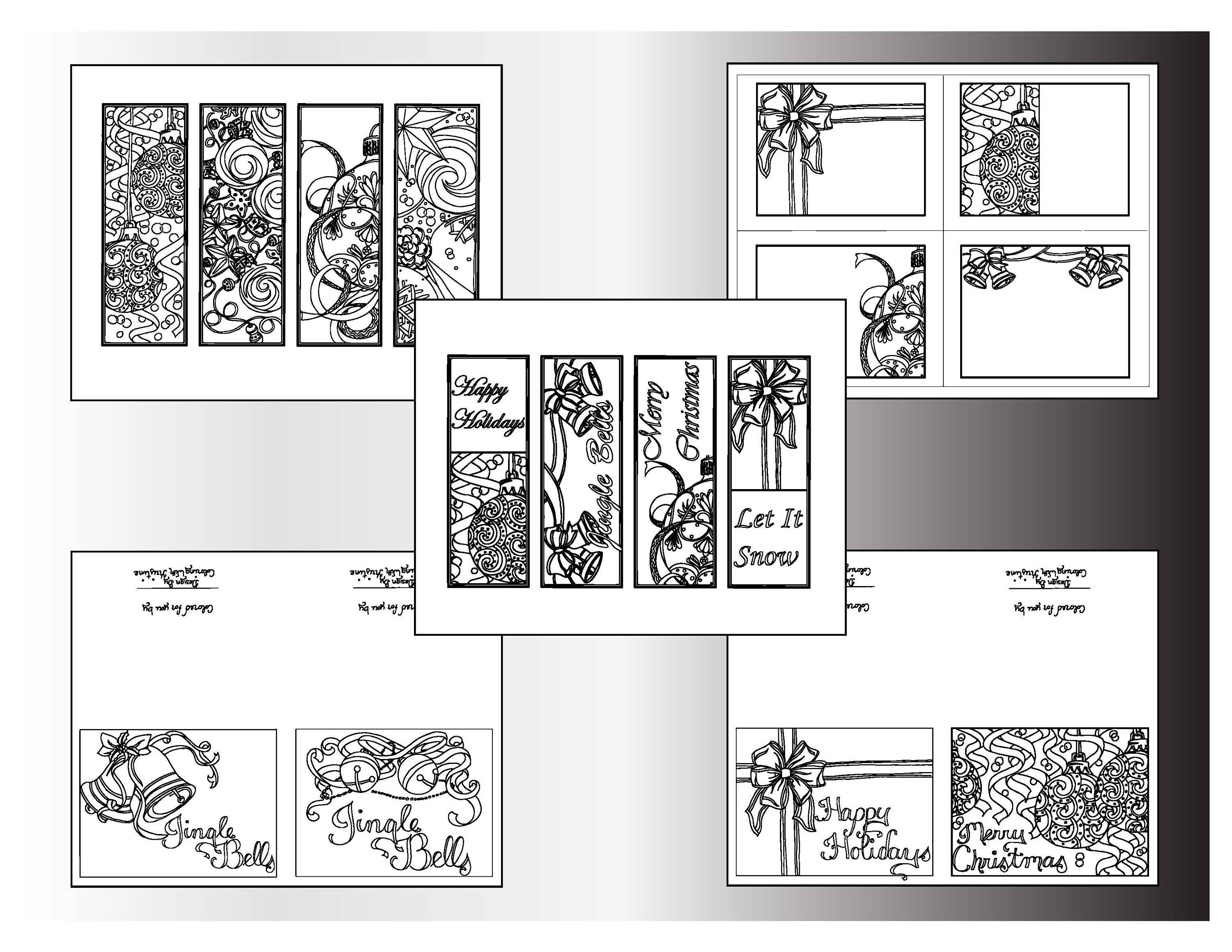 Christmas Coloring Bookmarks With Bundle Printable Designs Holiday Color