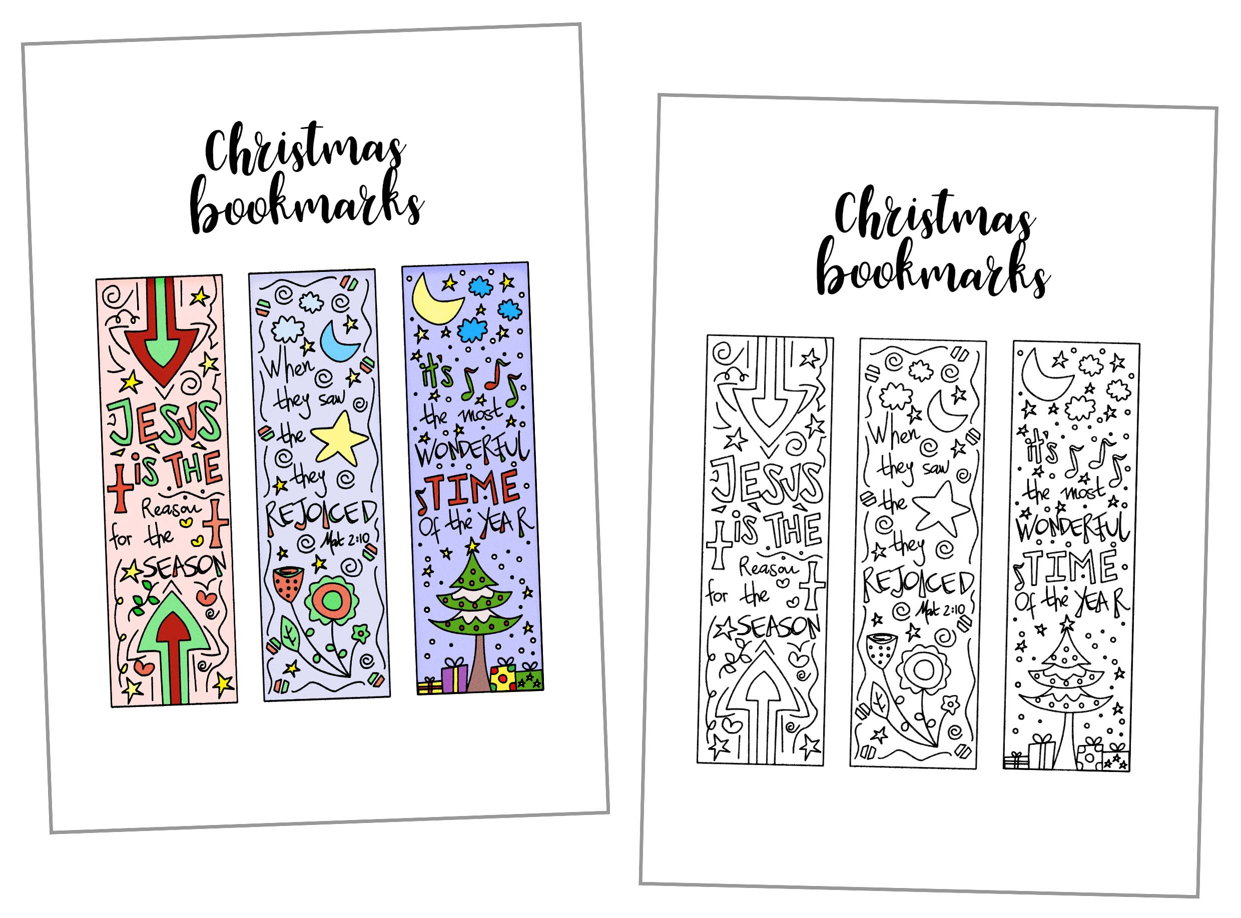 Christmas Coloring Bookmarks With Free Printable Daydream Into Reality