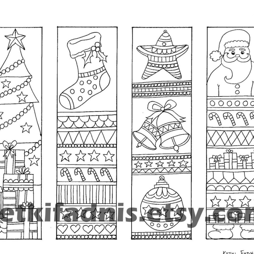 Christmas Coloring Bookmarks With Instant PDF Download Etsy