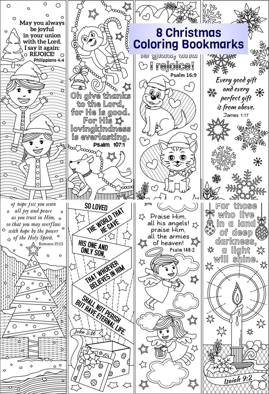 Christmas Coloring Bookmarks With Plus Colored Items