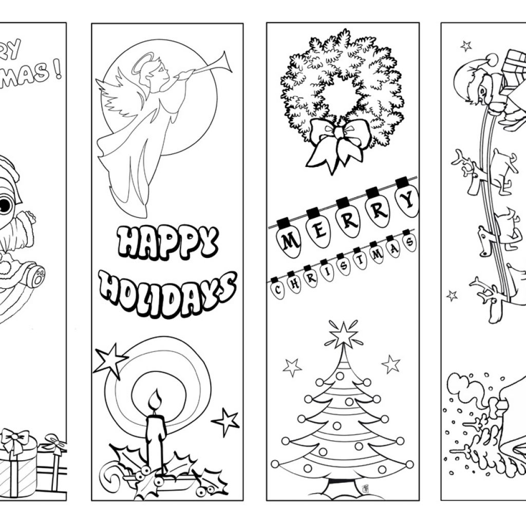 Christmas Coloring Bookmarks With Printable Happy Holidays