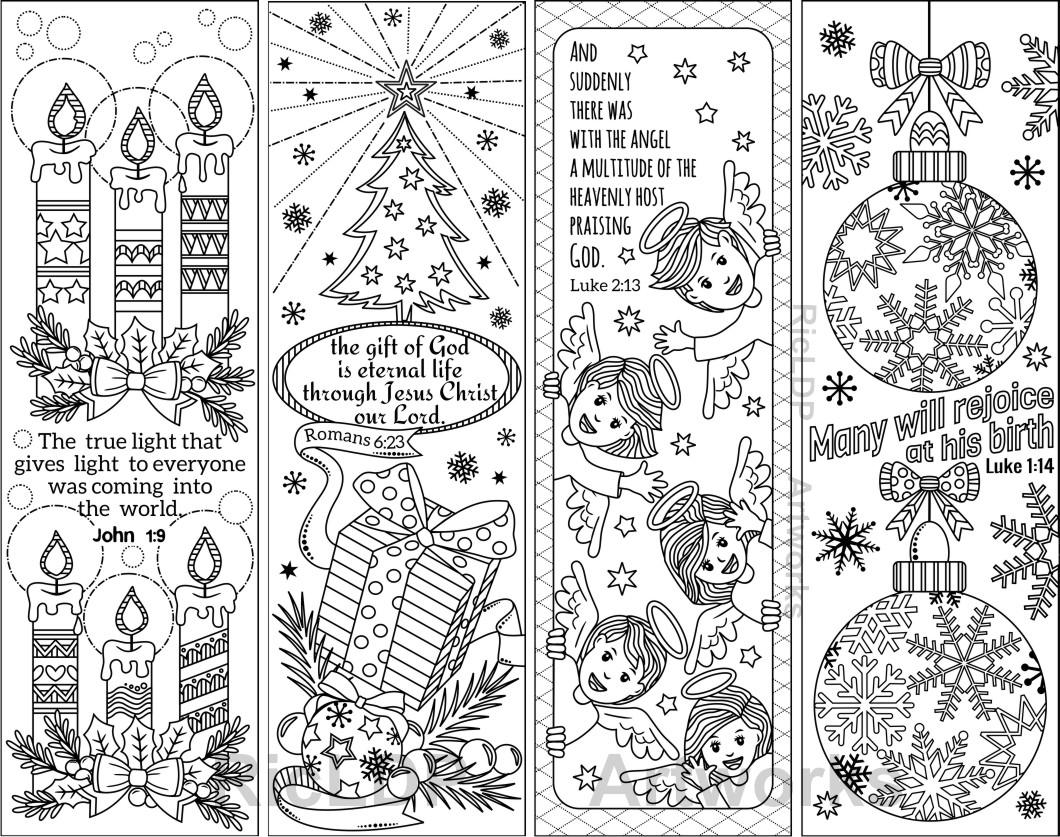Christmas Coloring Bookmarks With Set Of 8 Bible Verses Etsy