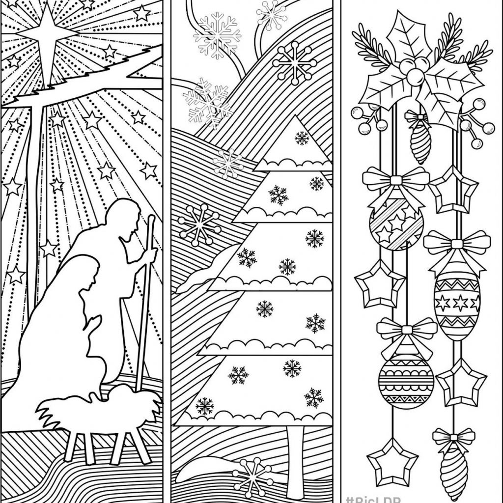 Christmas Coloring Bookmarks With Three Pinterest