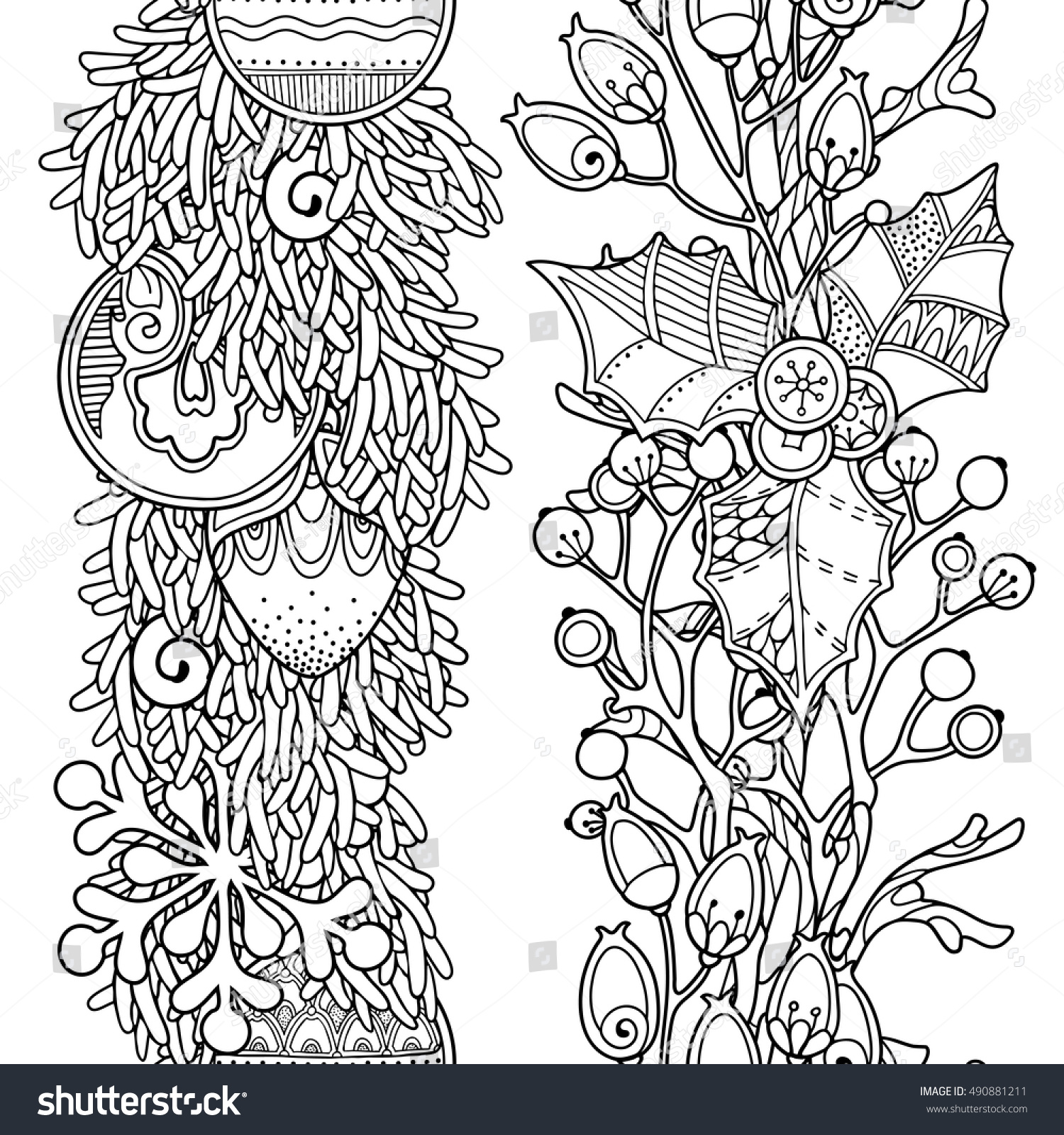 Christmas Coloring Borders With Seamless Vector Set Doodle Style Stock Royalty Free