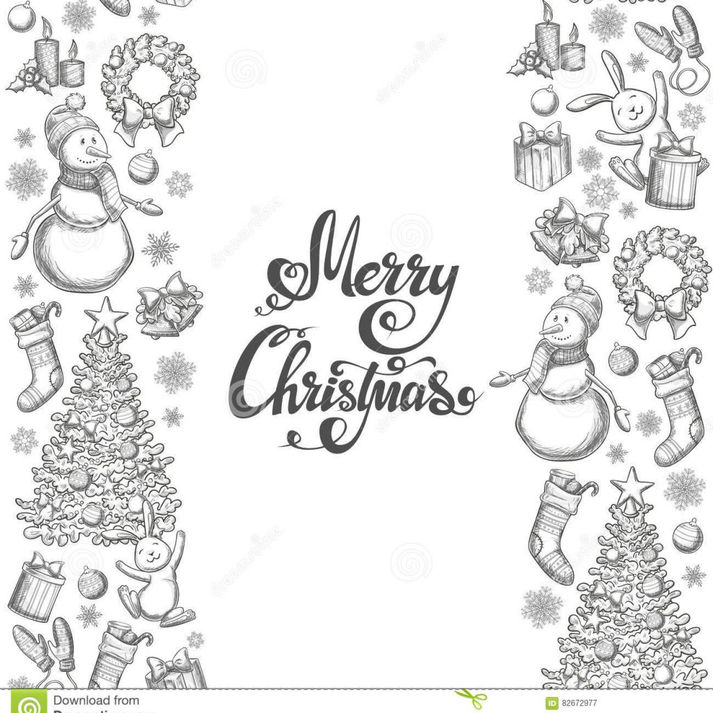 Christmas Coloring Borders With Vertical Seamless Icons Stock Vector