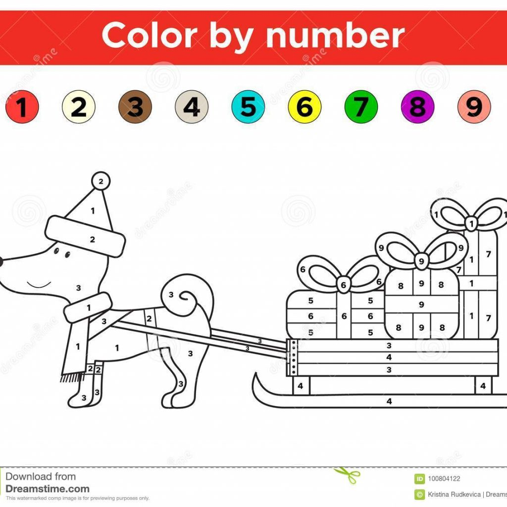 Christmas Coloring By Number With Color For Preschool And School Kids Stock