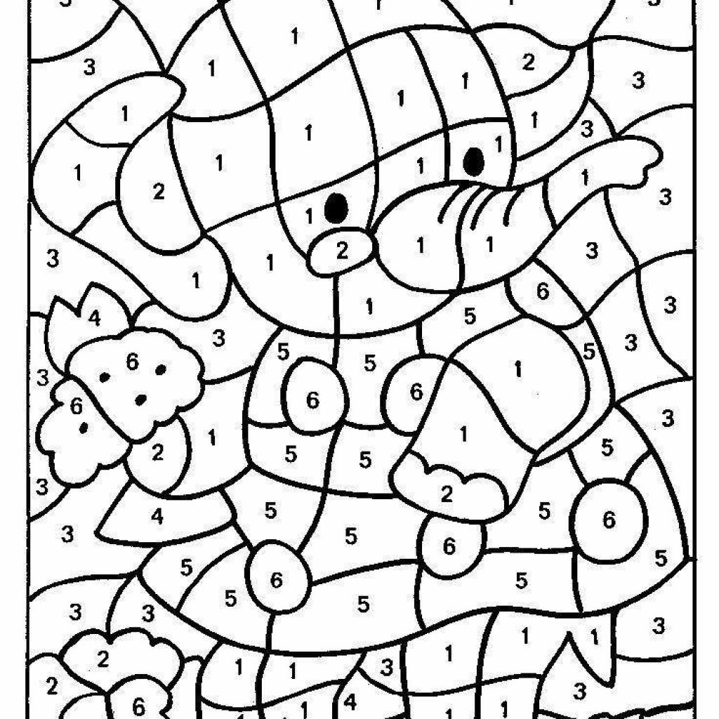 Christmas Coloring By Numbers Printable With Color Number Worksheets For Kindergarten Download
