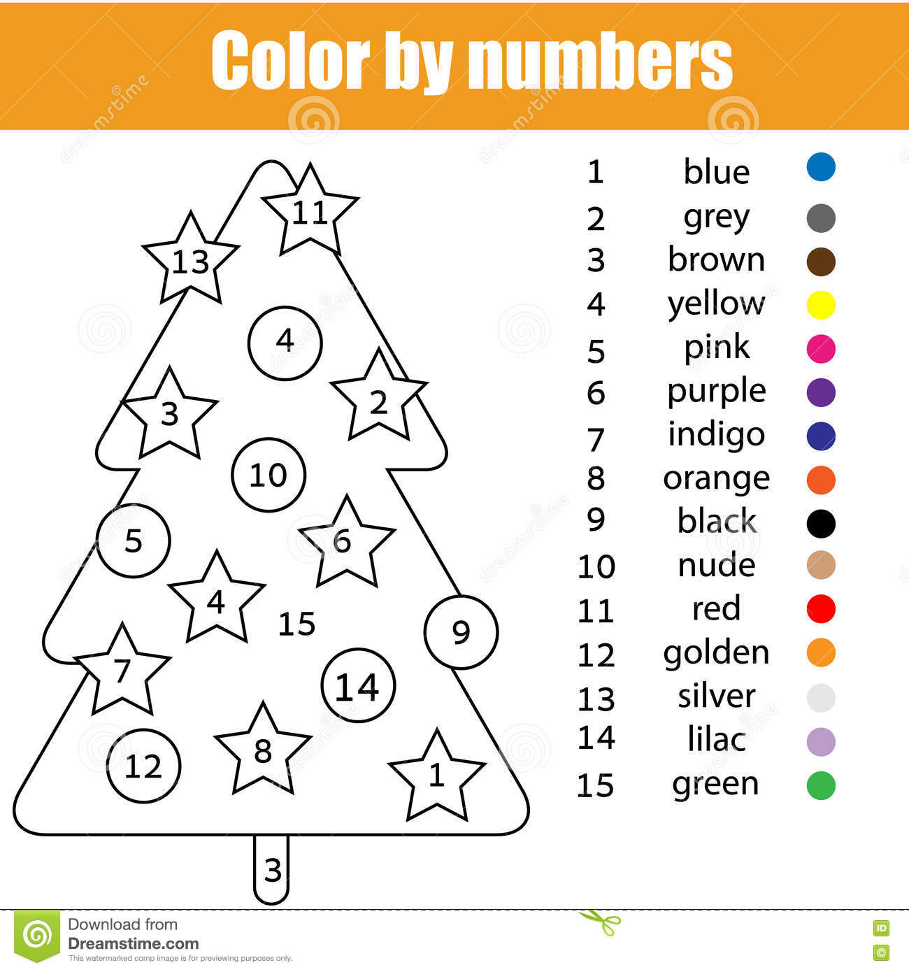 Christmas Coloring By Numbers Printable With Page Tree Color Stock Vector